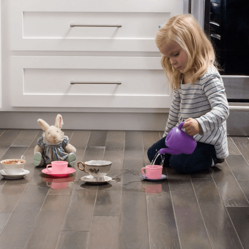 Girl playing on Floorte Hardwood floor | BMG Flooring & Tile Center