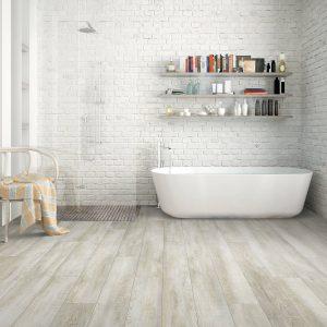 Hardwood Flooring in washroom | BMG Flooring & Tile Center